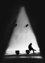 F_MG_2546-1-BW-Canon 6DII-Tamron 28-300mm-May Lee 廖藹淳 (May-margy) Tags: maymargy bw 黑白 人像 椅子 壁燈 建築物 三角形 臉譜 逆光 剪影 街拍 線條造型與光影 天馬行空鏡頭的異想世界 心象意象與影像 台灣攝影師 幾何構圖 點人 高雄市 台灣 中華民國 fmg25461bw portrait wall walllamps facesinplaces streetviewphotography linesformandlightandshadow mylensandmyimagination naturalcoincidencethrumylens taiwanphotographer blur bokeh 模糊 散景 triangle humaningeometry humanelement kaohsiungcity taiwan repofchina canon6dii tamron28300mm maylee廖藹淳