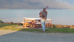 Cell phone capture of Highlands piper playing at an Alaskan RV campground. (Alan Vernon.) Tags: video highlands piper playing rv campground alaska bagpipes pipes music melodies scotland scottish lynn canal haines instrumental instrument mountains sea