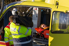 31 Casualty interview, Scone (wwshack) Tags: airbushelicopters ec135 egpt eurocopter psl perth perthairport perthshire scaa stv scone sconeairport scotland scotlandscharityairambulance helicopter photoshoot