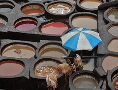 working under an umbrella (SM Tham) Tags: africa morocco fes medina leather tannery vats dyes colors colours people workers industry circles reflections umbrella process