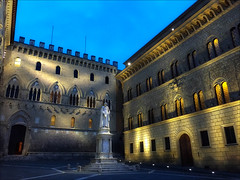 Siena by Moonlight (kate willmer) Tags: night city courtyard statue building architecture light siena tuscany italy