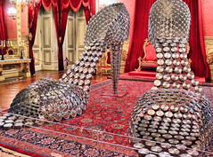 the ultimate stiletto (Claudia1967) Tags: joanavasconcelos cinderela cinderella shoes ballroom palace ball sculpture art exhibition lisbon portugal throne shiny pot pans lids steel creative shoe stiletto