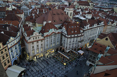 Old Town Prague (Paul Cook59) Tags: prague buidling town old square people crowd roof rooftop architecture building red above