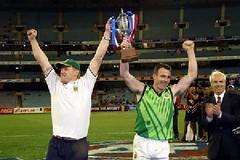 Winning Coach Darren Fitzpatrick and Captain Michael Johnston. MCG 2002 (Australian Embassy Ireland) Tags: afl football aussie rules