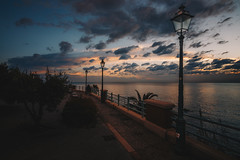 Genova Quarto dei Mille (FButzi) Tags: genova genoa liguria italy italia lamp clouds sky sunset sea