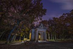 La ermita. (Amparo Hervella) Tags: comunidaddemadrid españa spain paisaje ermita árbol cielo nube estrella nocturna noche lightpainting naturaleza largaexposición d7000 nikon nikond7000