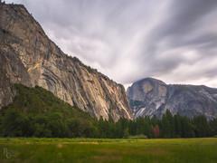 Yosemite Granite & Sky (RobertCross1 (off and on)) Tags: 1250mmf3563mzuiko ahwahneemeadow ca california em5 halfdome longexposure mariposa omd olympus royalarches sierranevada sierras yosemite yosemitenationalpark yosemitevalley clouds forest grass landscape mountains trees