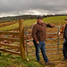 Extension agent Damon Pollard (left) chats with beef farmer Robert Lowman on his Connelly Springs farm.