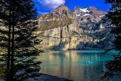 Fishing on Lake Oeschinen (sylviafurrer) Tags: bergsee mountainlake türkis berge mountain berneroberland bernesealps switzerland schweiz suisse lac lacdemontagne