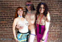 20180311 0210 - Crucible - Risque - Holi - Carolyn, Clio, Natasha - IMG_6699 - (by John Holmes) (censored) (Clio CJS) Tags: 20180310 201803 2018 censored edited washington dc club washingtondc thecrucible risque risque20180310 camerapersonjohnholmes standing natasha bodypaint paint body spiral spirals holographiccollar collar holographic facepaint face grabbingbreast grabbing breast clio carolyn smiling smile districtofcolumbia unitedstates