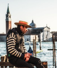 Passing Time (Andy J Newman) Tags: gondolier italy sanmarco street venice bleached candid man portrait vulturelabs