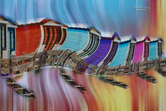 a slow motion dream ... (mariola aga) Tags: painting beach houses stairs doors closed twirl rainbow pastel colors doubleexposure art