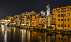 Night landscape of the Arno river of Florence (phuong.sg@gmail.com) Tags: architectural architecture arno bridge city culture dark destination details europe european exterior famous firenze florence golden historic historical italia italian italy lights medieval mediterranean nature night places reflect reflection river scenery scenic sky toscana tourism touristic travel tuscany vecchio water yellow