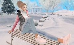 Day in the snow (Rose Sternberg) Tags: day snow stealthic liz shape for genus project head baby face maitreya lara body quatrettocs native urban uber event sneakers tokyo jacket scandalize jeans ivy hair jana unisex men women mesh second life