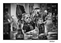 Little zombie B&W (Artico7) Tags: zombie halloween party girl makeup bw blackwhite blackandwhite biancoenero monochrome digital fuji xe1 varmo friuli italy blond bottles costume