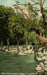 Aborigines fishing in the Mulgrave River, North Queensland - circa 1910 (Aussie~mobs) Tags: 1910 postcard colouredshellseries natives aborigines fishing indigenous mulgraveriver cairns spears vintage australia queensland