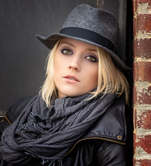 Cas (QuarryClimber) Tags: woman blond greeneyes hat urban outdoorportrait portrait naturallight