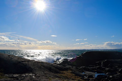 View at Mølen (Bodomi) Tags: sea ocean water shore stone rock rocks blue bright sun sunbeam sunbeams beam beams norway mølen sky cloud clouds wave waves