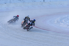 Oernskoldsvik, Sweden - Januari 05,2019: Tree ice racing drivers in a curve in a club competition race. (loj5407) Tags: risk rider race outdoors participants persons professional tires track turn winter snow speed iceracing sport nature competitions dangerous extreme compete bikers championship cold motorcycle men helmet ice sweden