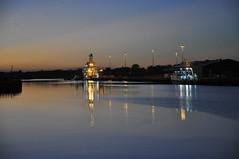 Ships in port in the blue hour (Kirkleyjohn) Tags: ships lowestoft lowestoftharbour lowestoftinnerharbour reflection nightphotography sky evening eveninglight
