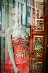 Waverly's holiday outfit. (RansomedNBlood) Tags: 35mm chinoncp7m fuji200 wv westvirginia mannequin charleston halest