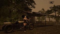 I will wait for you... - 2019 Valium Photo Contest (Angel Neske) Tags: angel rain umbrella car trees sl