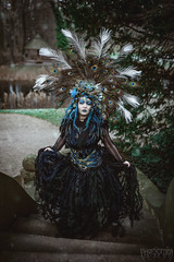 ~* peacock goddess *~ (Mrs.ChibiChan) Tags: miezi miezichibichan goddess peacock headdress headpiece gothicgirl gothic newphoto gothicstyle queen picoftheday darkart fantasy fantasyart berlin