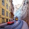 Lisbon scene (Torbjørn Tiller) Tags: jaguaretype jaguar classiccars classicjaguar tram lisbon lisboa portugal squareformat