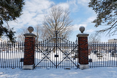 St John's Cemetery Gate (fotofish64) Tags: cemetery stjohnscemetery urbancemetery gate cemeterygate snow winter outdoor graveyard fence irongate symmetry urban schenectady schenectadycounty capitaldistrict newyork pentax pentaxart kmount k70 hdpentaxda1685mmlens wideangle