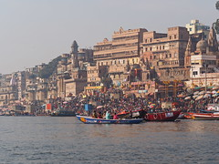 Varanasi - People at the Ghats (sharko333) Tags: travel reise voyage asia asien asie india indien uttarpradesh वाराणसी varanasi benares kashi ganga ganges boat city people olympus em1