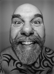 Fisheyed selfie. . . (CWhatPhotos) Tags: cwhatphotos digital camera photographs photograph pics pictures pic picture image images foto fotos photography artistic that have which with contain olympus omd em5 mkll fisheye fish eye 8mm pro lens portrait man male smile eyes wide angle beard goatee tattoos tattooed tattoo ink inked tribal bald baldy slap head flickr