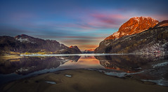 Touch of winter (BjørnP) Tags: landscape mountains sunset water winter sand beach reflection cabin colors sony norway norge bjerkreim ice snow