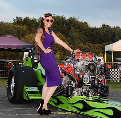 Holly_1781 (Fast an' Bulbous) Tags: pinup model girl woman hot sexy chick babe classic dragster slingshot wiggle dress high heels stockings car vehicle automobile supercharged outdoor dragstalgia