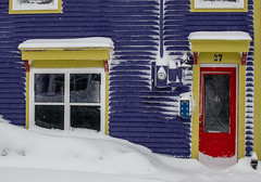 White as Snow ... (vanessa violet) Tags: happywallwednesday purple house home window door red yellow building snow snowflake winter whiteassnow hww happywindowwednesday wednesday windowwednesday doorway 27 number27 ice flurries storm