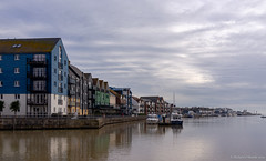 Littlehampton harbour (Rourkeor) Tags: 35mm 35mmzeisssonnartlens carlzeiss england littlehampton rx1r riverarun sony uk westsussex boats cloudy colourful dwellings fullframe harbour harbourside houses moorings reflections sonyflickraward