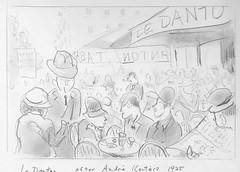 Le Danton, Paris (Just Back) Tags: fun bar street paris hat man lady woman smoke quartier seats table sketch draw graphite pencil eat drink food cafe locale ink design line curve people comida bebida persones urban disfrutar latin seine danton blvdstmichel