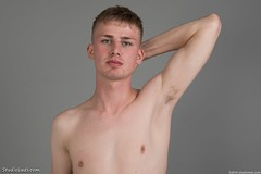Shirtless guy (StudioLads.com) Tags: male model man guy dude youth stud hunk boy lad pose studio photoshoot shirtless topless nude naked bare undressed unclothed slim skinny handsome hot horny sexy cute fit body physique blond chest nipple hair hairy armpit face portrait