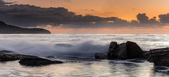 Rocky Panorama Sunrise Seascape (Merrillie) Tags: daybreak sunrise cloudy australia nsw centralcoast clouds sea newsouthwales rocks earlymorning morning water landscape ocean nature sky waterscape coastal seascape outdoors killcarebeach dawn coast killcare waves