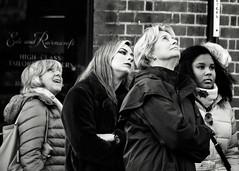 Looking Up (Bury Gardener) Tags: cambridgeshire cambridge bw blackandwhite mono monochrome england uk streetphotography street streetcandids snaps candid candids people peoplewatching folks 2018 nikon nikond7200