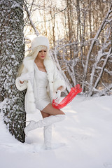 A red scarf (DZ-fotografia - 16 Million views, Thx) Tags: white fur coat hat snow wood sexy lady dress boots gloves red scarf winter heels