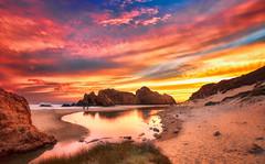 Mondi senza fine (Gio_guarda_le_stelle) Tags: sunset seascape clouds sand water sky california bigsur platone