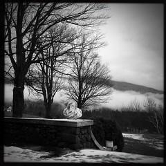 Morning in Manchester VT (CTfoto2013) Tags: brouillard fog mood greenmountains squareformat iphone monochrome nb bw blackandwhite willburtoninn sculpture statue paysage landscape fall automne automn newengland vermont manchester hipstamatic