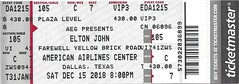 December 15, 2018, Elton John, Farewell Yellow Brick Road Tour, in concert, American Airlines Center, Dallas, Texas - Ticket Stub (Joe Merchant) Tags: december 15 2018 elton john farewell yellow brick road tour concert american airlines center dallas texas ticket stub