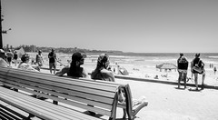 On New Year's Day (1) (geemuses) Tags: people candid street streetphotography beach boardwalk path pathway black white blackandwhite bw monochrome sydney manlybeach nsw newsouthwales australia scenic view scenery sky