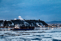 A Winters Evening on the River (langdon10) Tags: canada quebec stlawrenceriver water ice nighttime ship shoreline snow winter