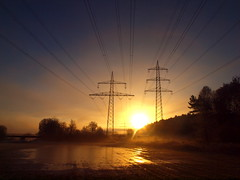 WINTERSUNRISE AFTER MANY RAIN PC250181 (hlh 1960) Tags: landschaft landscape nature natur farben colour forrest wald wiese wasser water spiegelung mirrow powerline powerstation himmel sky brücke sun sunrise sonne sonnenaufgang sol soleil atardecer germany