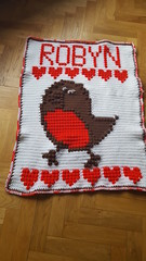 Robin blanket for Robyn (dochol) Tags: robin bird crochet croche craft cute graph chart wooĺ yarn crochethook handmade haakwerk hakeln handcrafted haak homemade babyblanket blanket manta afghan baby bebe name personalised alphabet