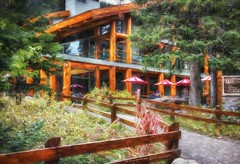 The Moraine Lake Lodge in the Canadian Rockies, a photo painting (PhotosToArtByMike) Tags: morainelakelodge morainelake banff banffnationalpark digitalpainting digitalart painting photopainting valleyofthetenpeaks canadianrockies albertacanada mountain mountains tenpeaks
