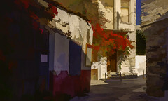 8898TS Colourful Chalki (and a cat) ! (foxxyg2) Tags: topaz topazsoftware topazstudio topazsimplify red flora flowers chalki naxos cyclades greece greekislands islandhopping islandlife cityscape cats art sunlight