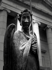 The Fighter of the Spirit (SPP - Photography) Tags: mia minnesota minneapolis face faces sword wings bw blackwhite museum statue blackandwhitephotography blackandwhite